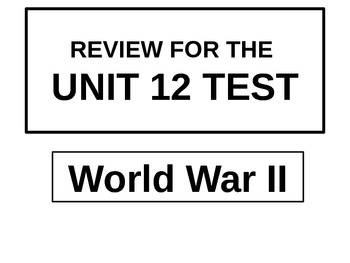 Unit 12 Test Review