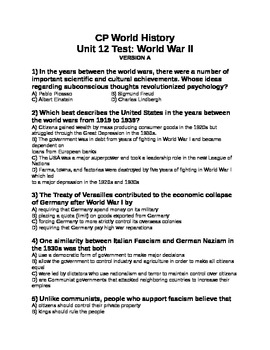 Unit 12 Test and Key (2nd Versions)