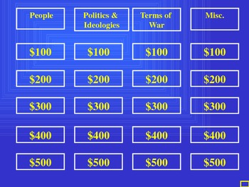 Cold War JEOPARDY!