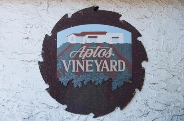 The original Aptos Vineyard sign