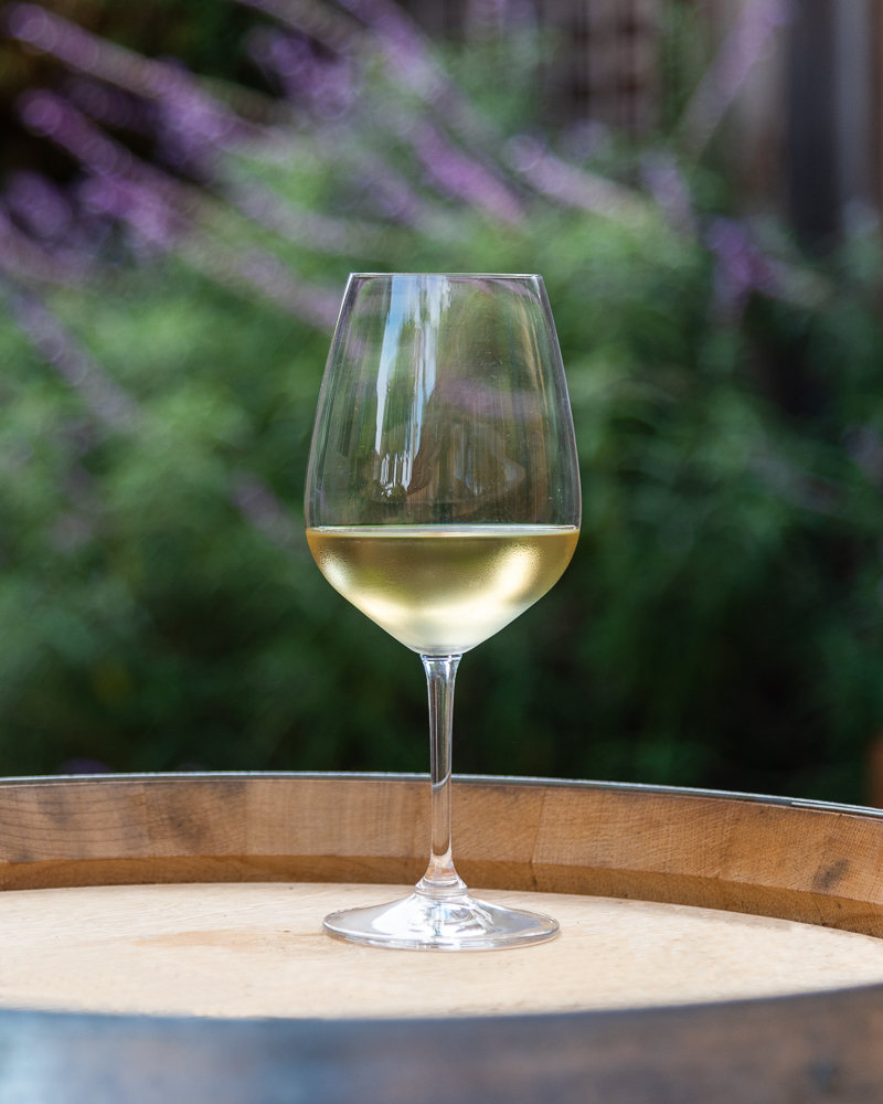 A wine glass filled with Aptos Vineyard 2019 Chardonnay wine on top of a wine barrel