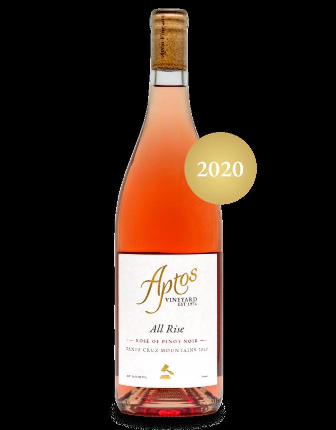 A bottle of Aptos Vineyard Rosé of Pinot Noir