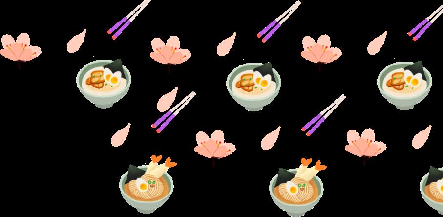 Ramen, Chopsticks and Flower Design