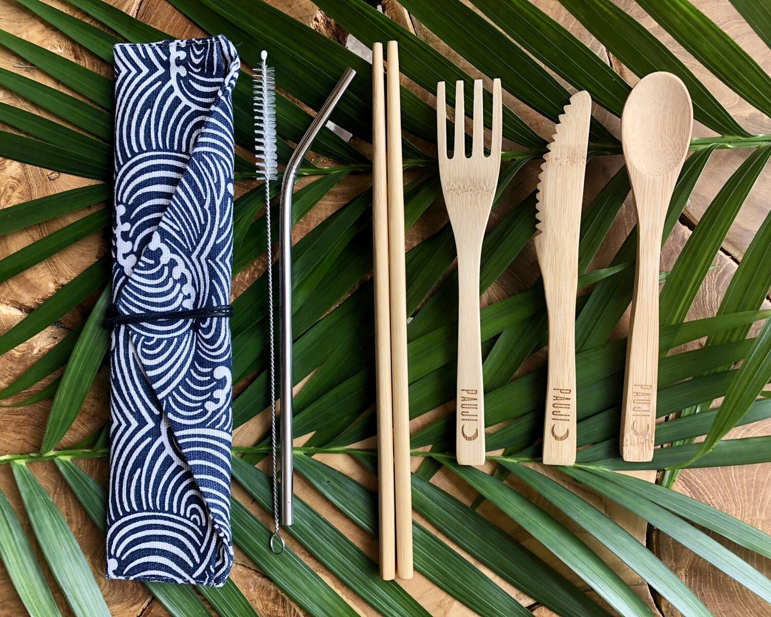 Bamboo Cutlery Set - Wave Design