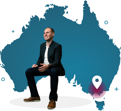 a corporate man with a background silhouette of Australia with a pin to melbourne