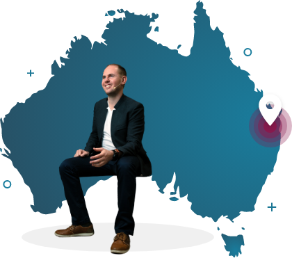 a corporate man with a background silhouette of Australia with a pin to Brisbane