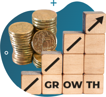 """coins and wooden blocks with arrow pointing upward with """"growth"""" label"""