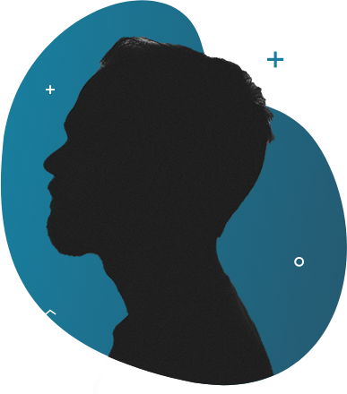 A silhouette of a person in sideview