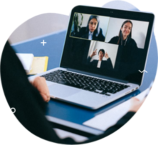 a laptop view of 3 people in a digital meeting