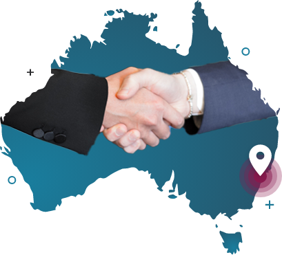 2 hands shaking as if doing an agreement. The background is a silhouette of the Australian continent