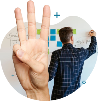 a person facing his back at us writing something on a whiteboard filled with sticky notes. 3 Fingers are also showing in this picture