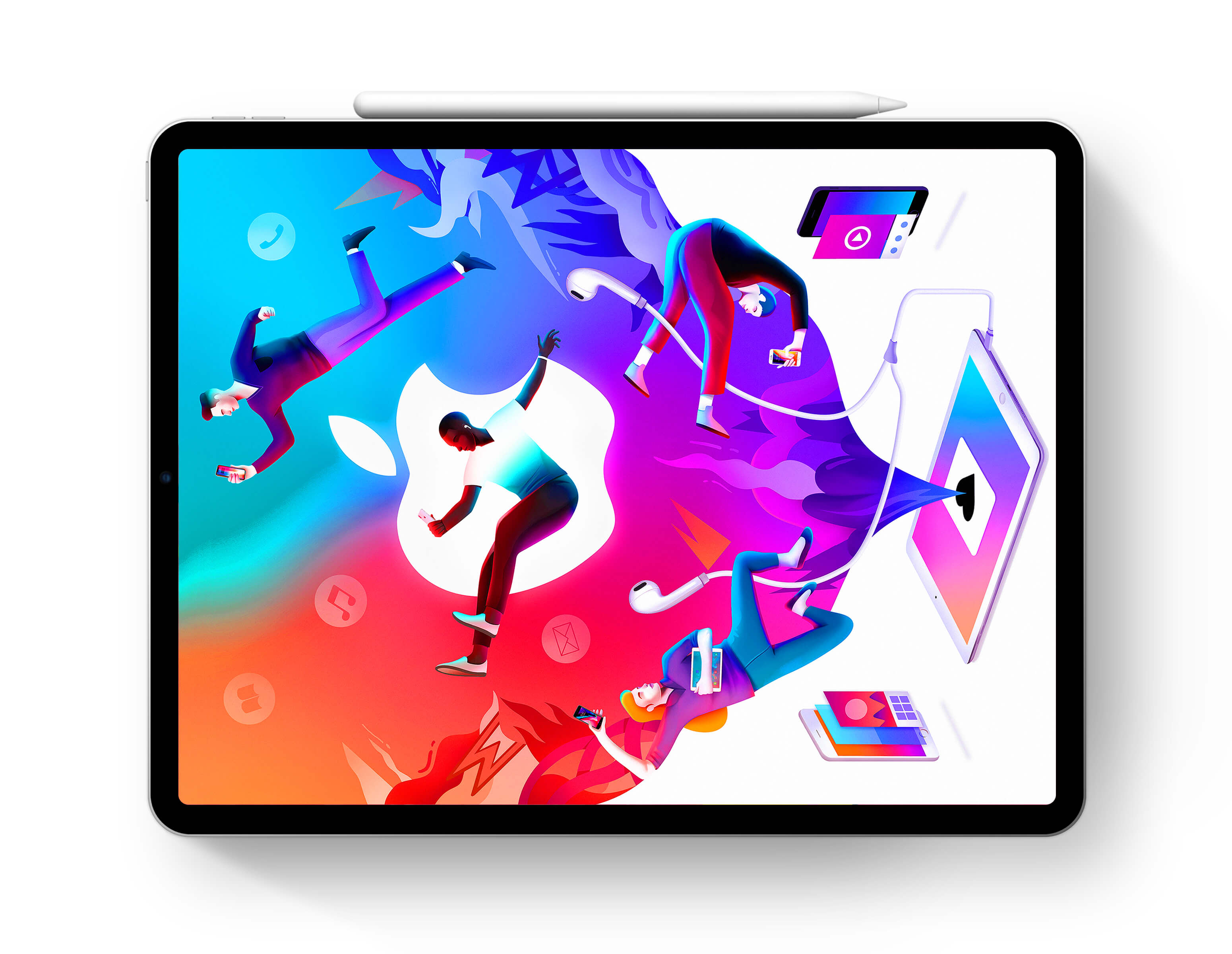 iPad Pro with Abstract Apple Background