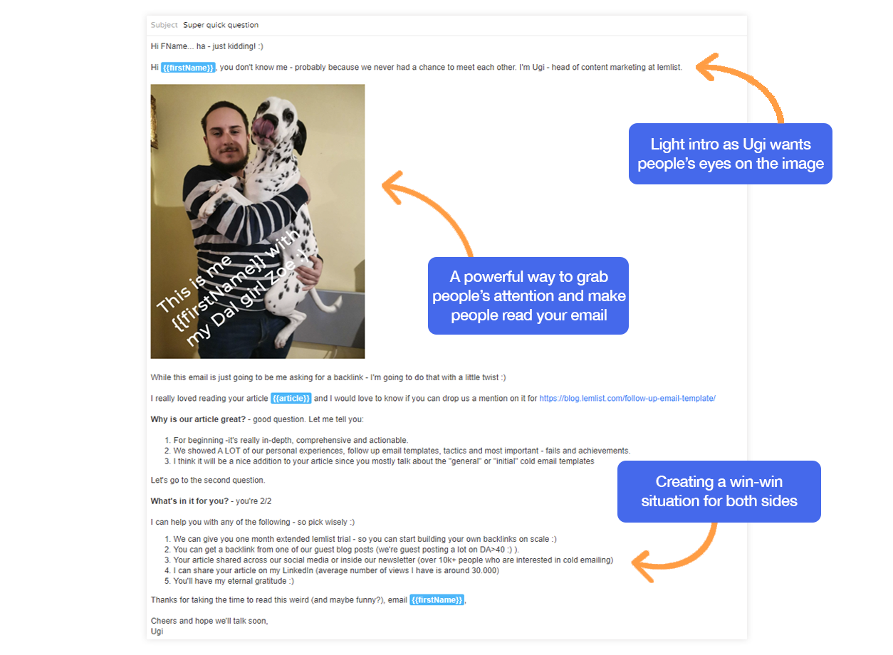 Backlink request cold email template