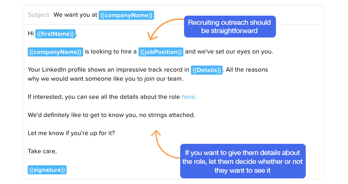 Email template for recruiting on LinkedIn
