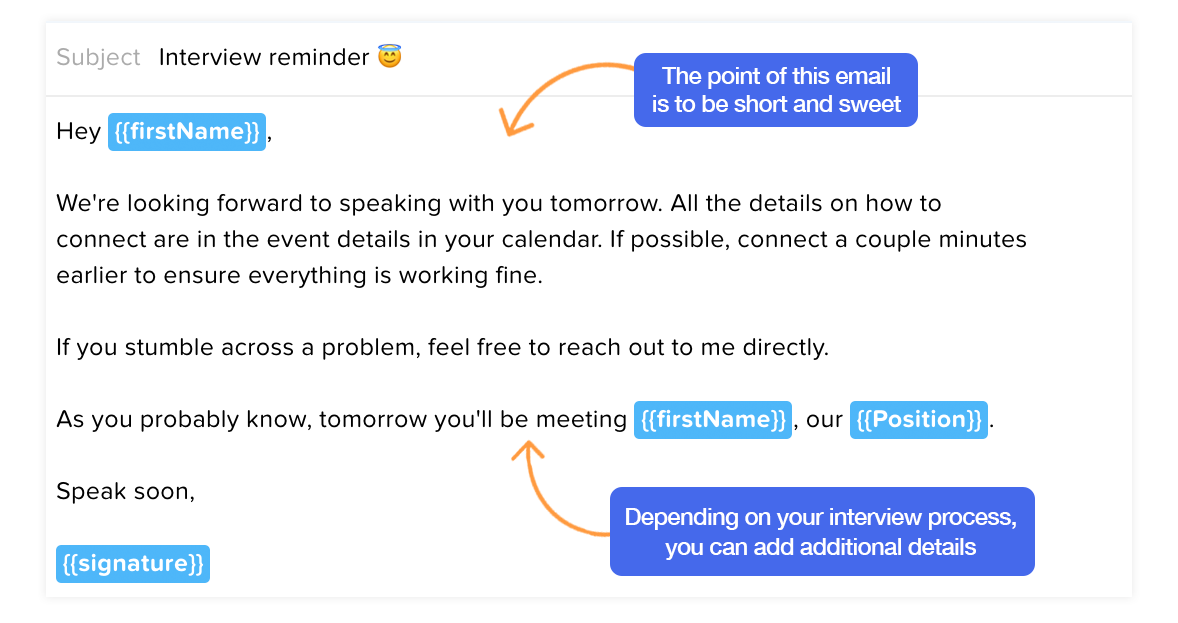 Interview reminder email template