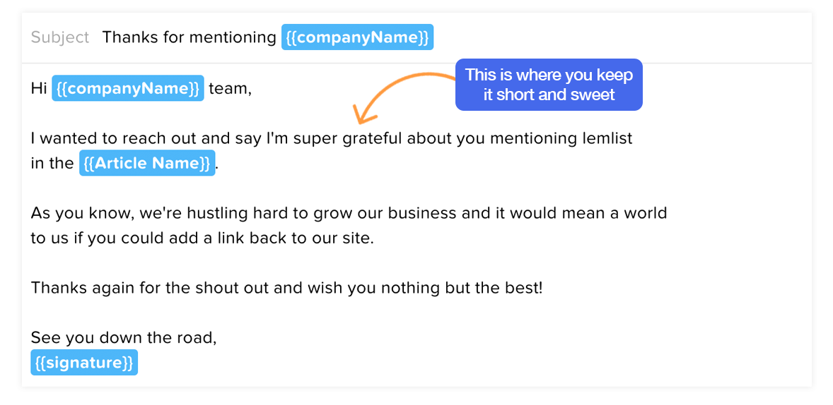 Email template for claiming unlinked mentions