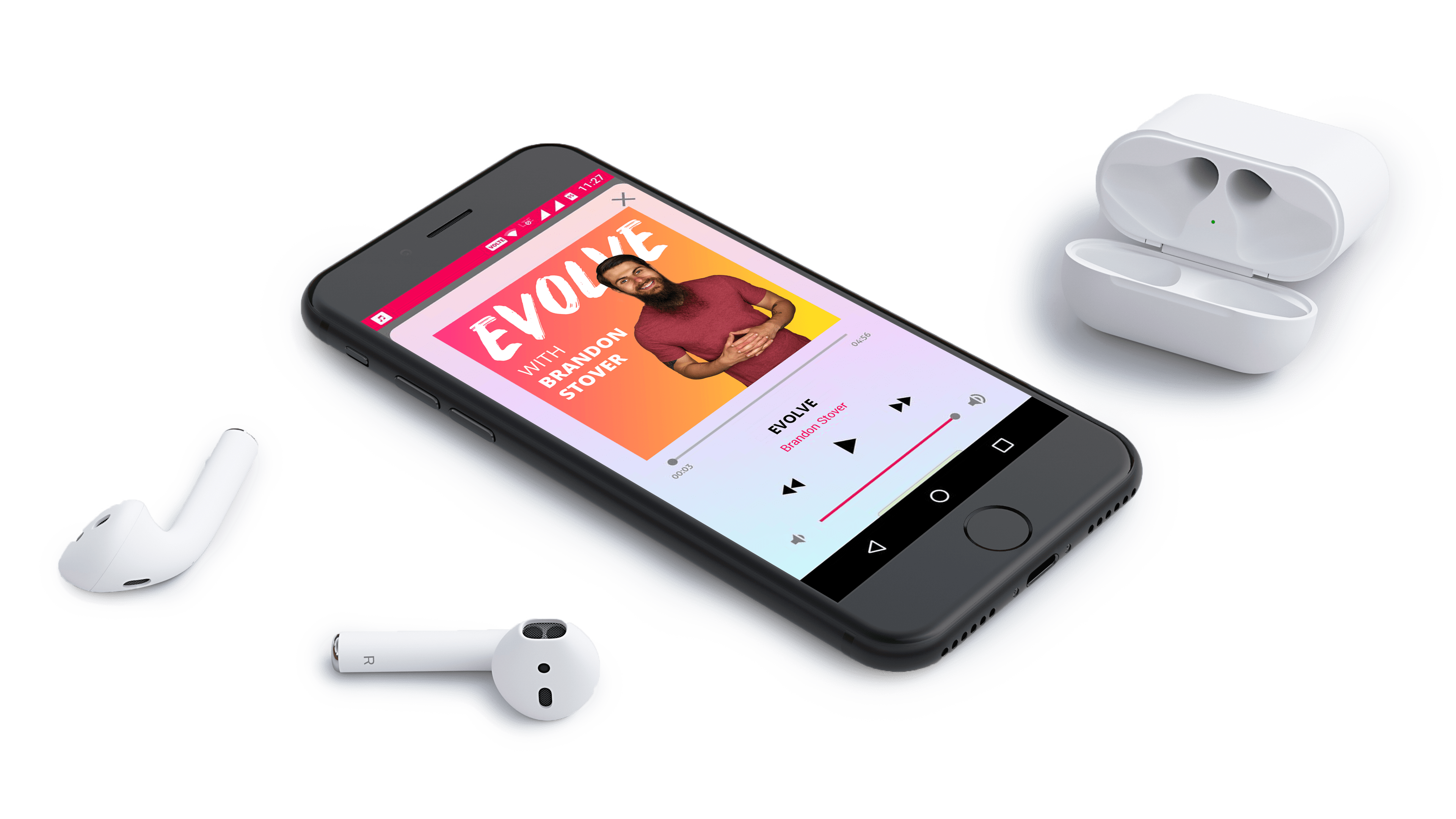 Evolve podcast shown on Apple iPhone with airpods