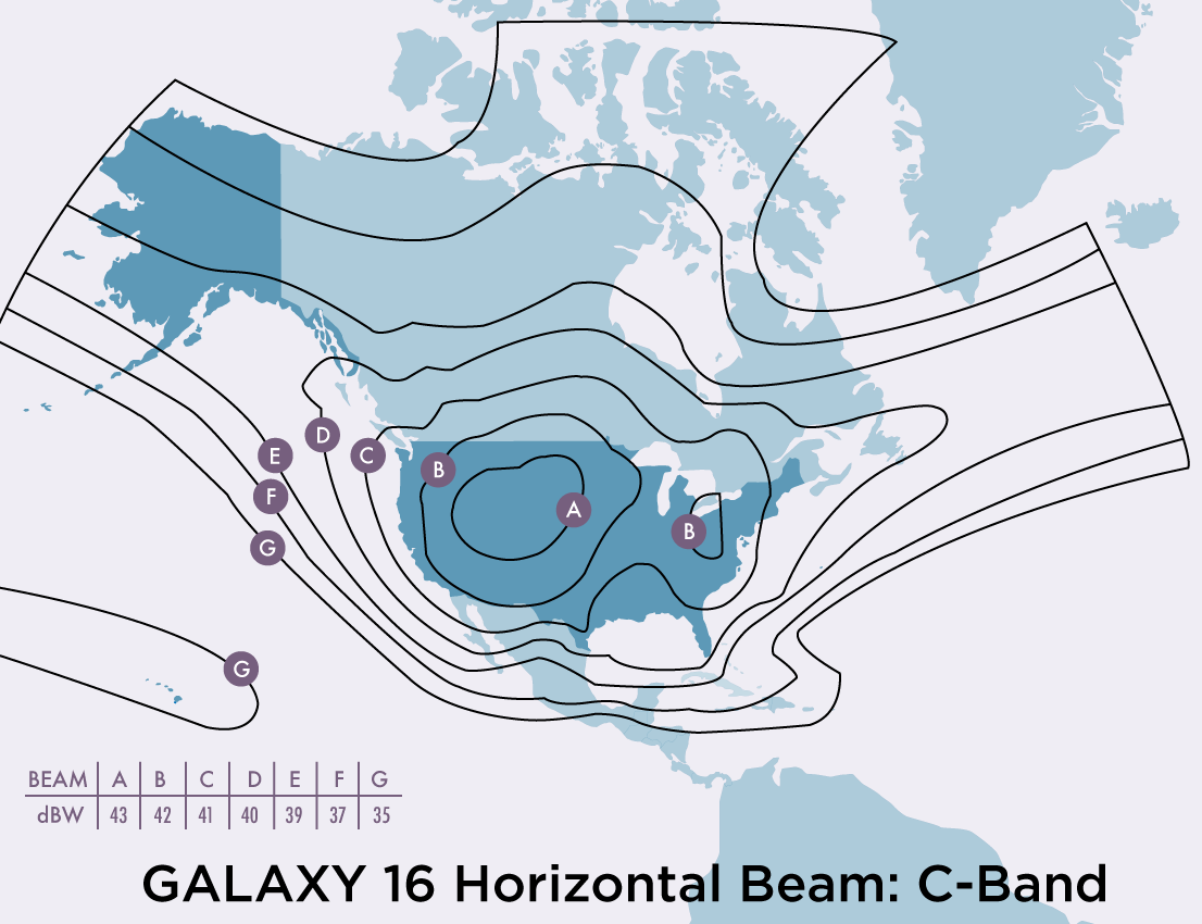 Footprint of the coverage of Galaxy 16 satellite