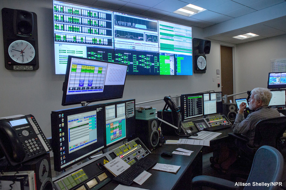 Tech monitoring controls at Network Operations Center at NPR hq in Washington, DC