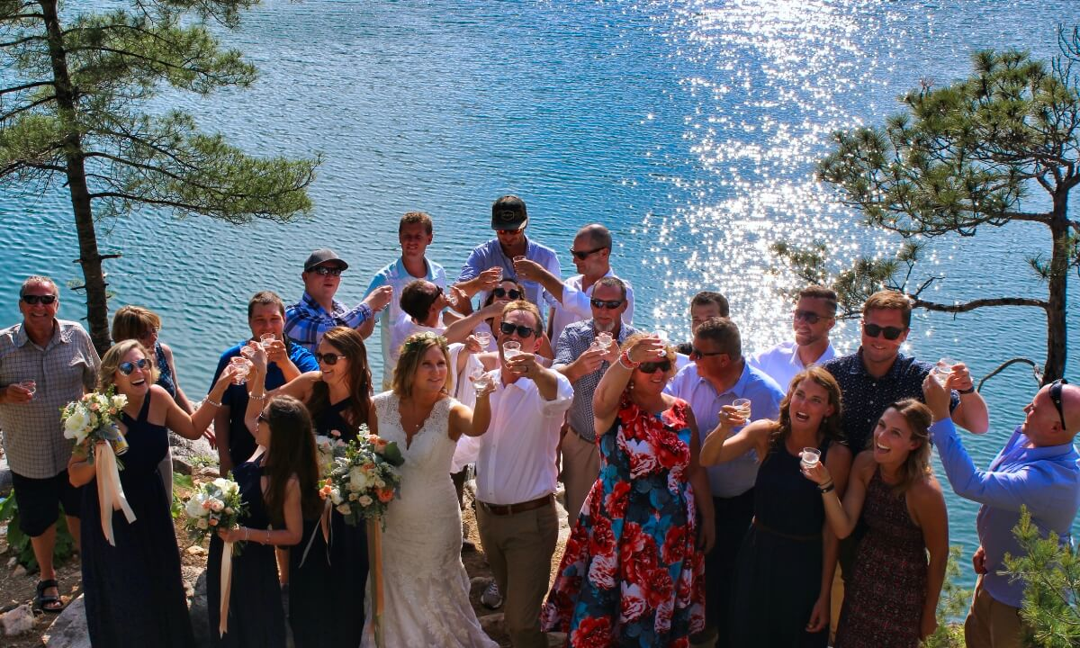 Wedding party enjoying a private destination as part of their chartered boat package.