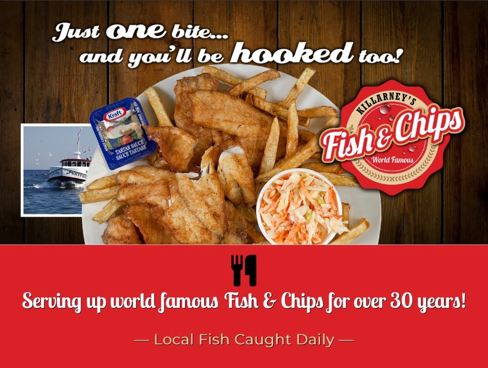 Enjoy world famous fish & chips at Herbert's Fisheries.