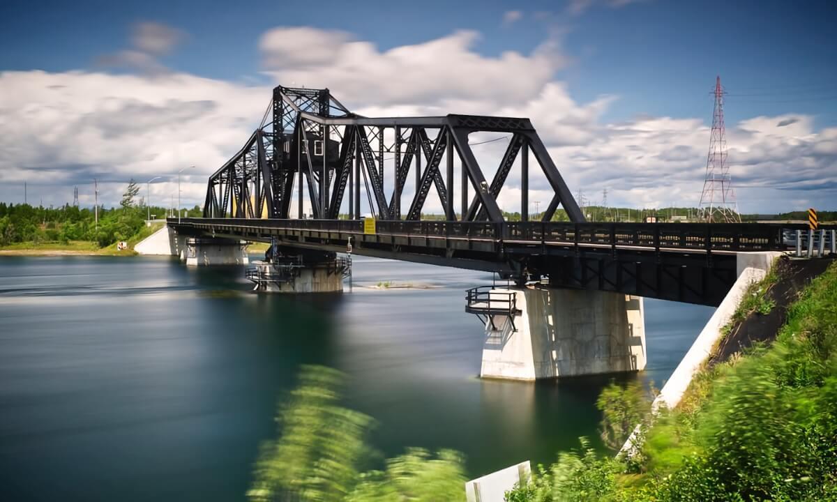 Swing Bridge on Manitoulin Island on a beautiful summer day.