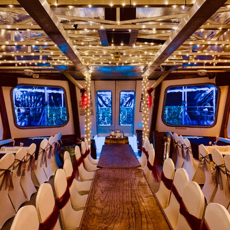 The Grand Heron boat decorated for a private wedding.