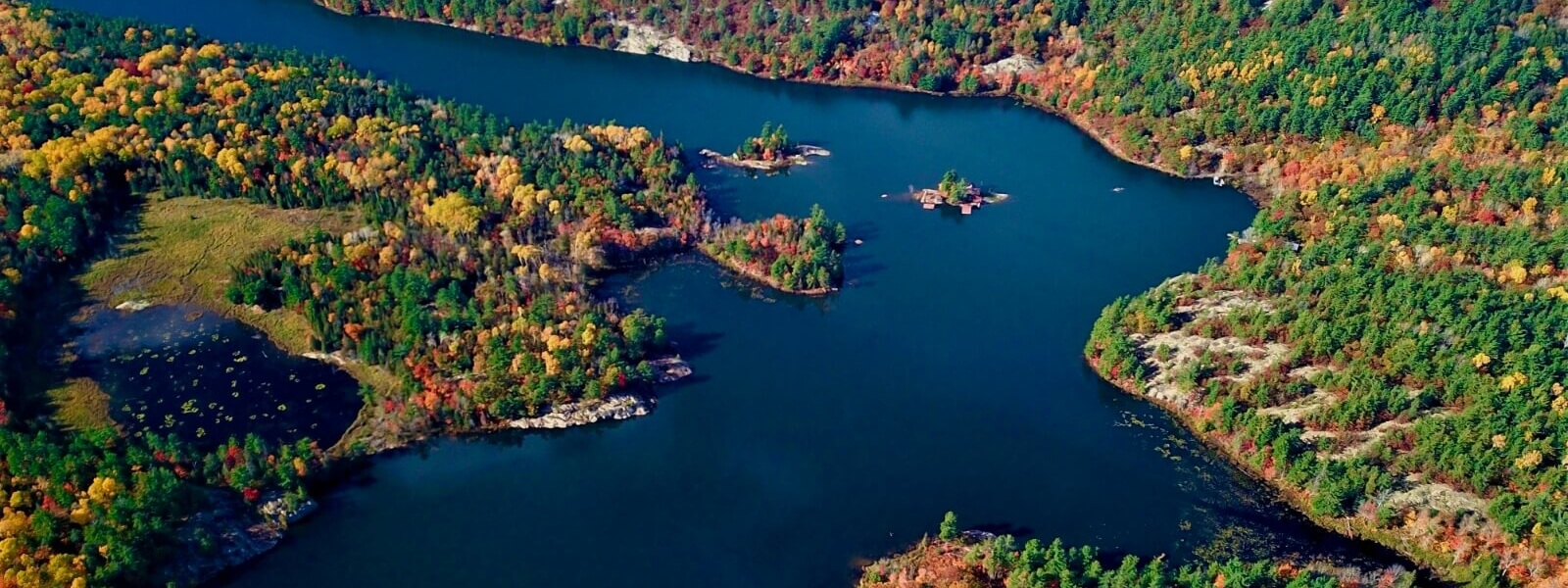 Aerial view of the north channel during the colourful fall season.