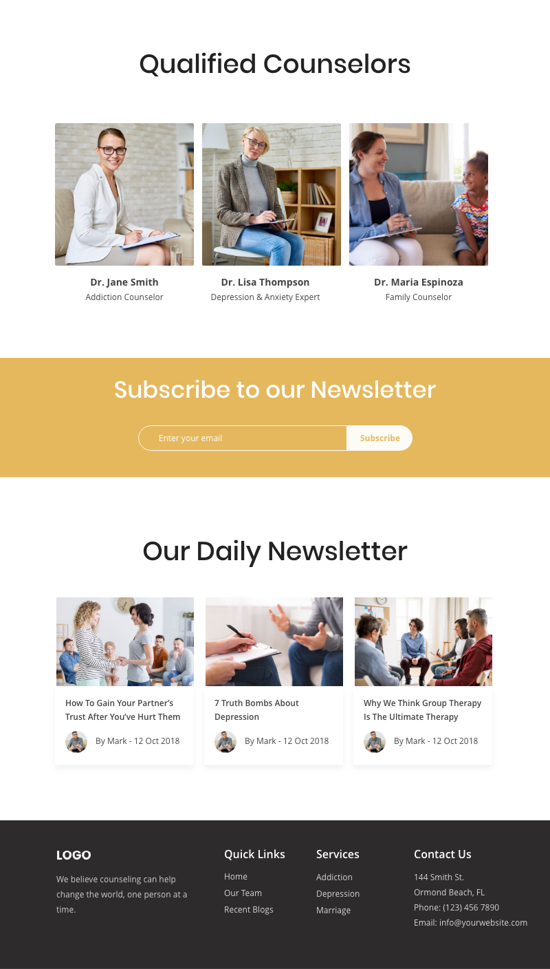 Therapy Email Newsletter Example