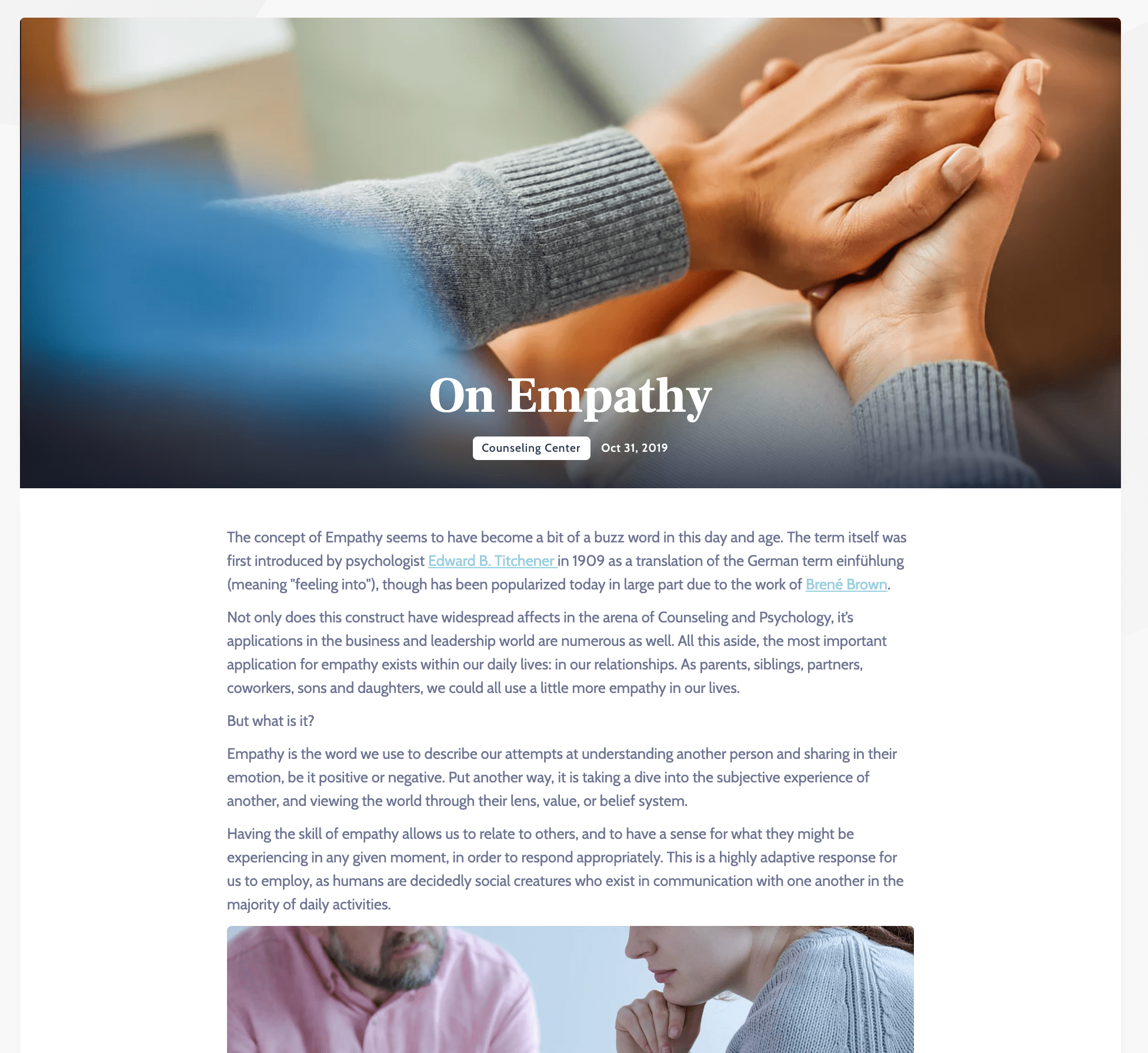 Blog Example for Counselor