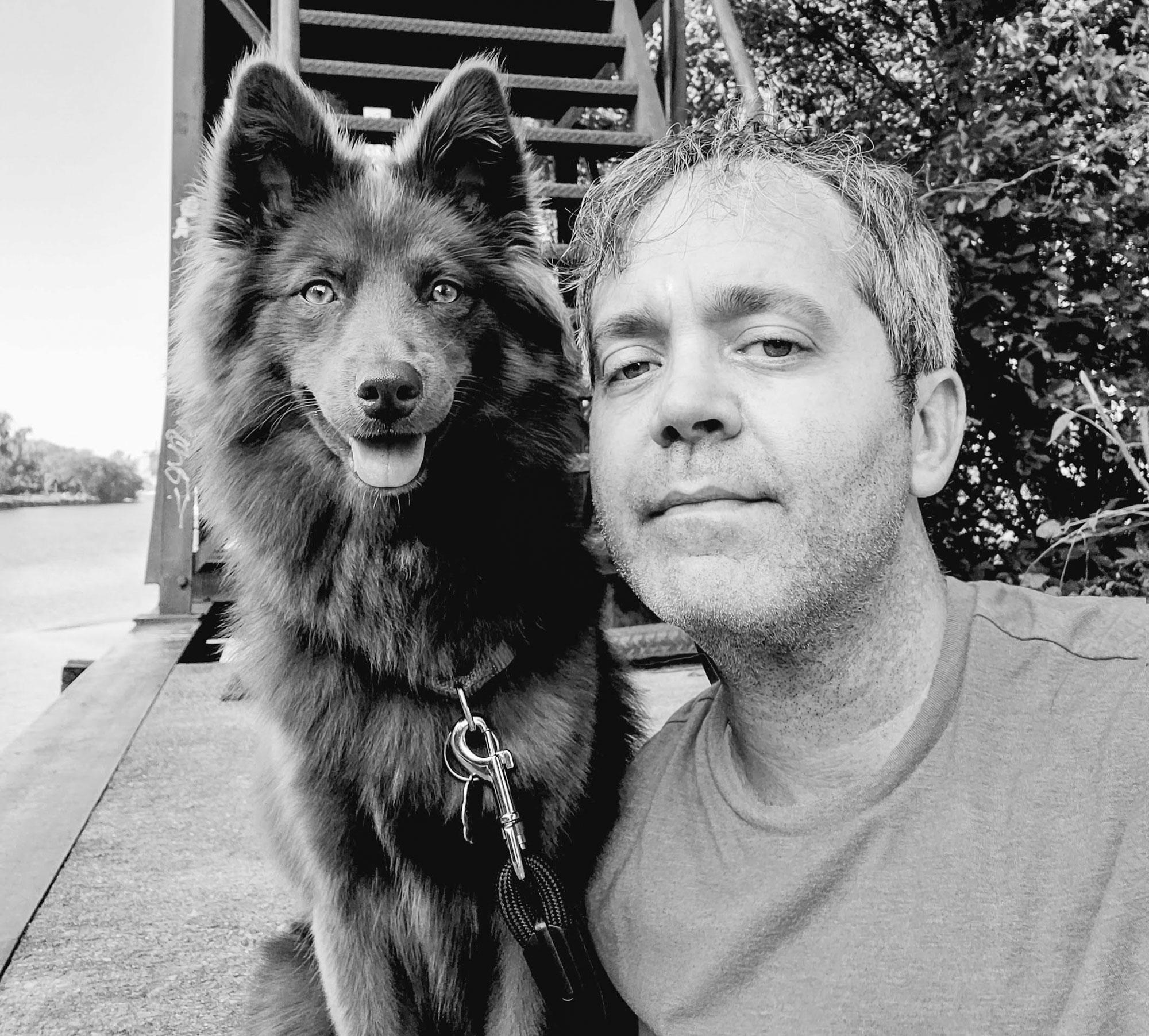 A selfie of me and Hazel dog.