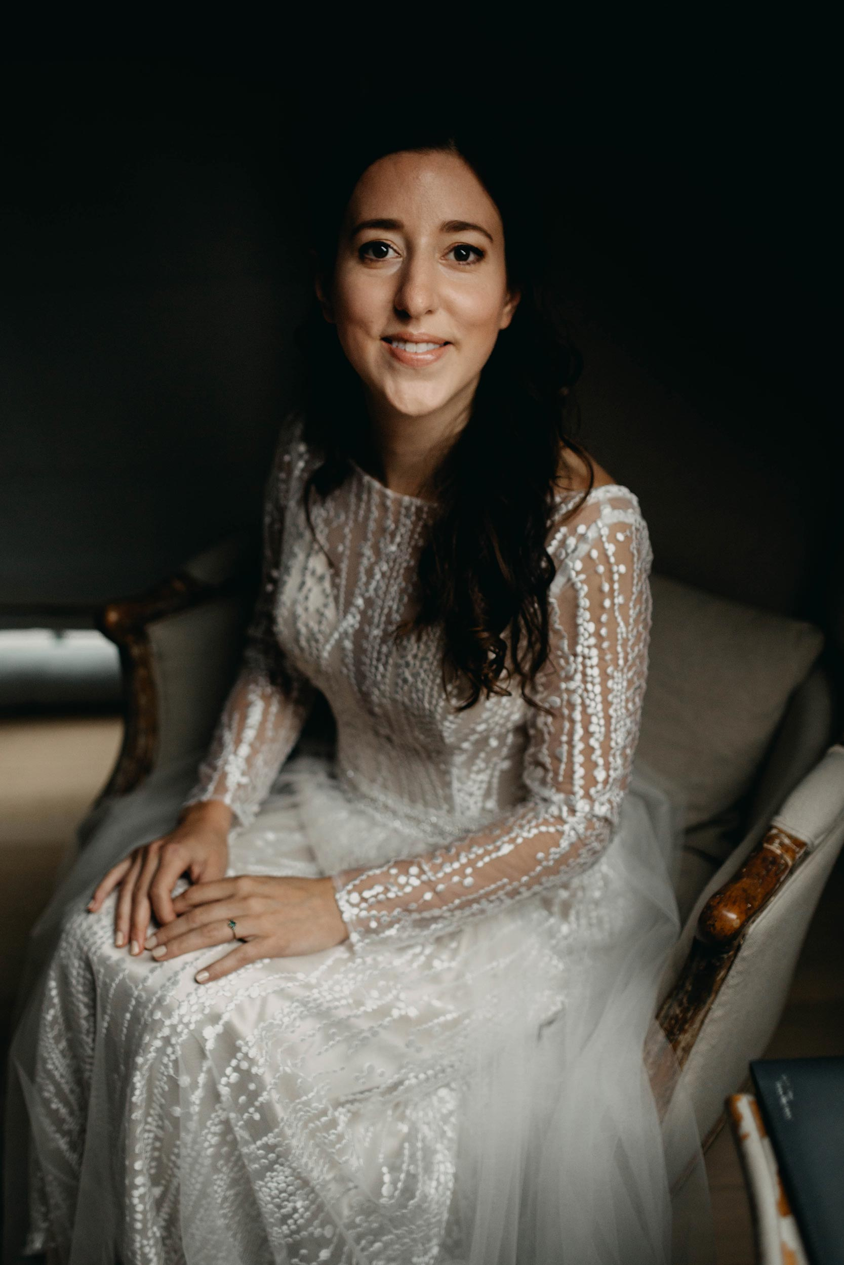 een portret van de bruid