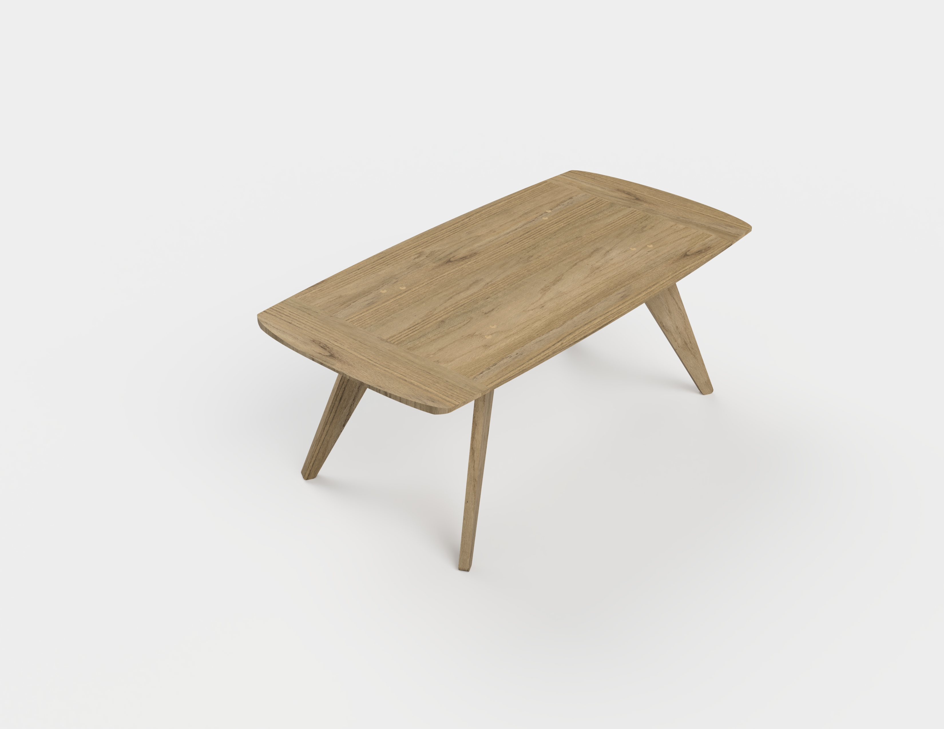 A 3D model of a solid oak, mid-century style coffee table