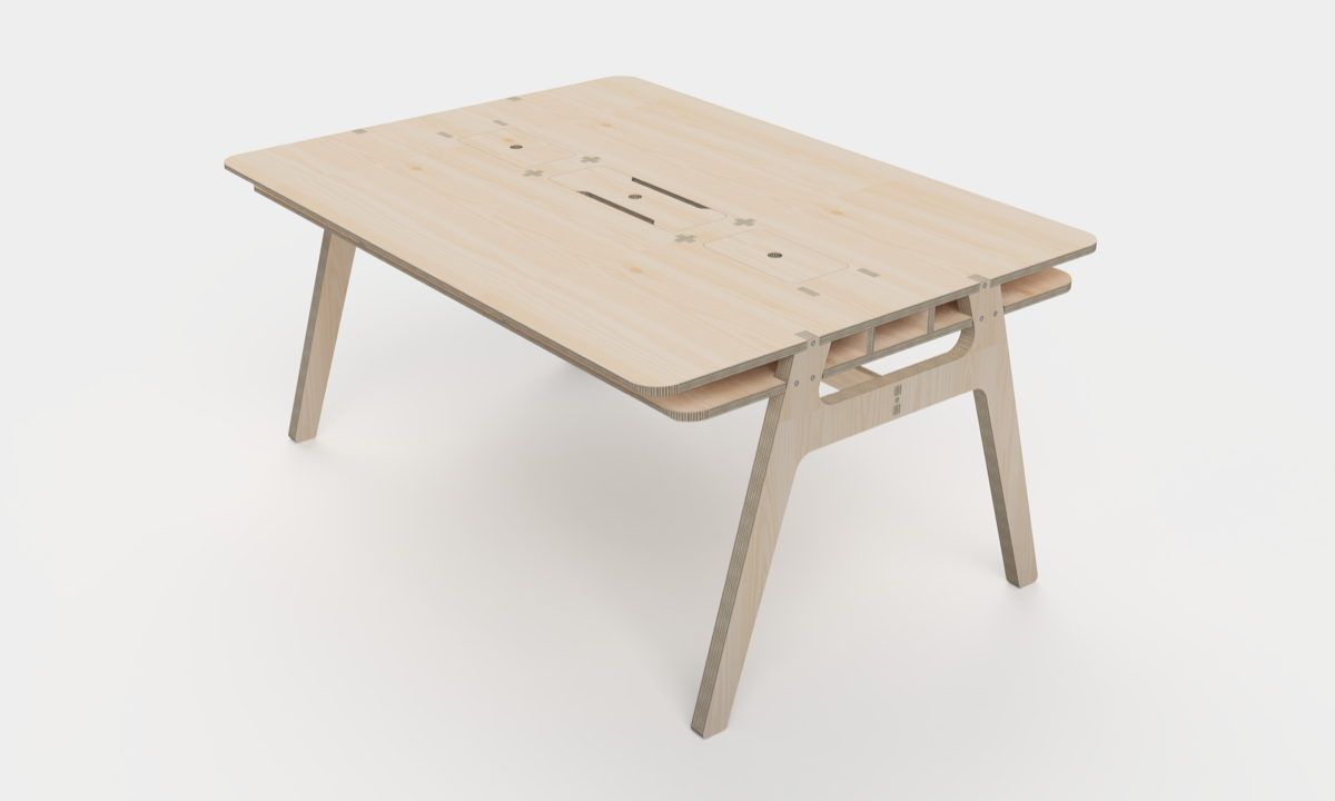 A 3D model rendering of a plywood meeting room table from an angle