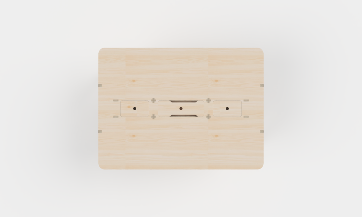 A 3D model rendering of a plywood meeting room table from above