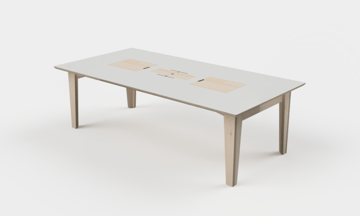 A 3D model rendering of a plywood meeting room table