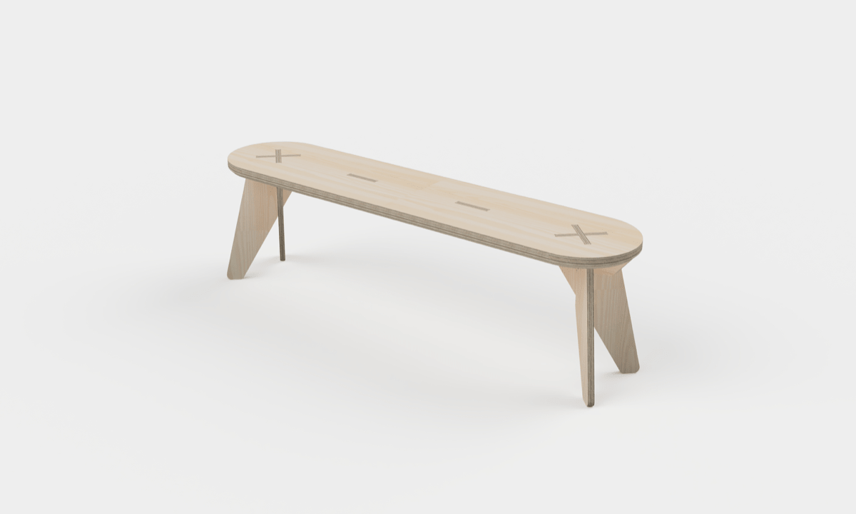 A 3D model of a plywood bench