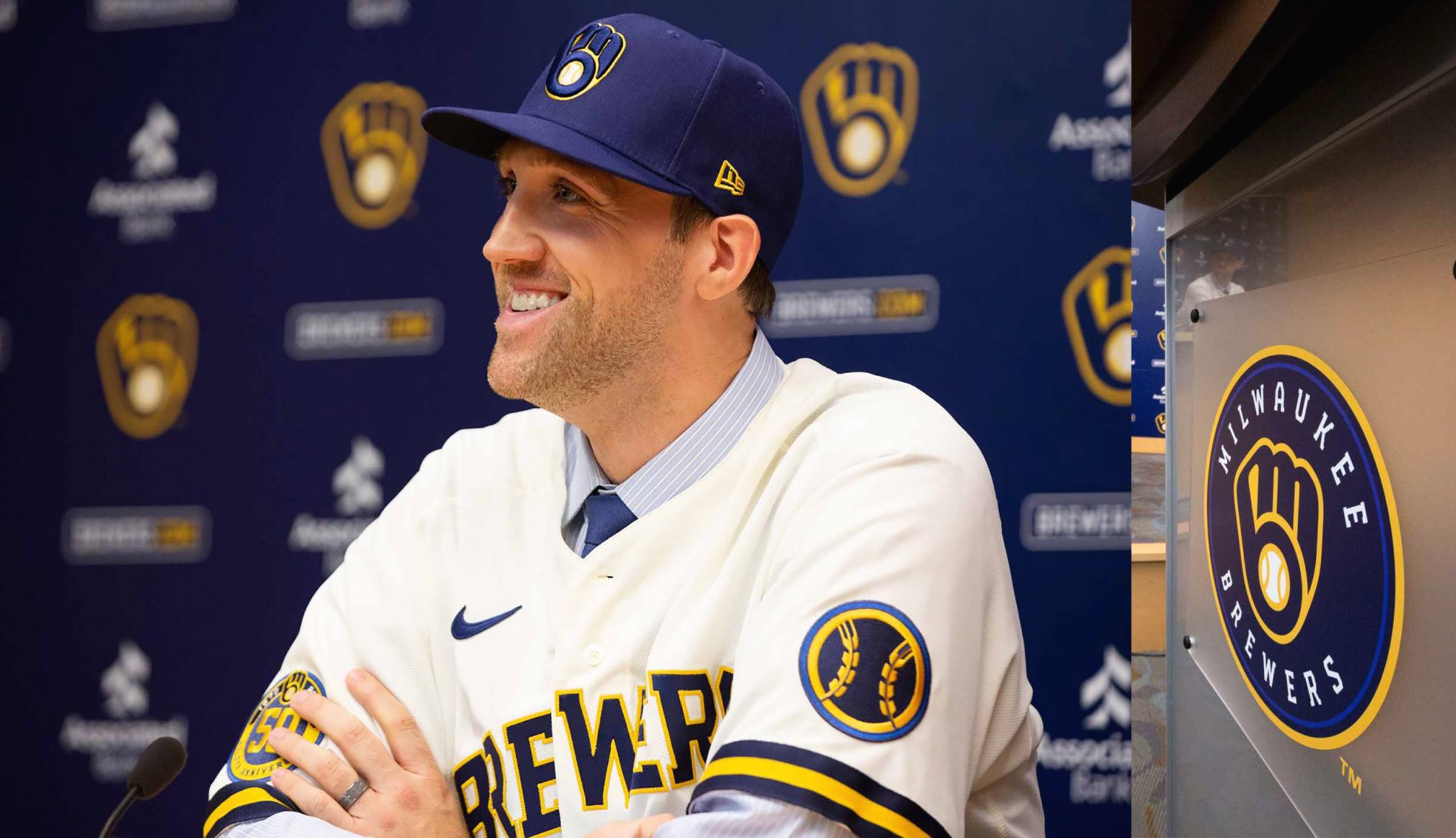 Josh Lindblom Podium New Brewers Uniform