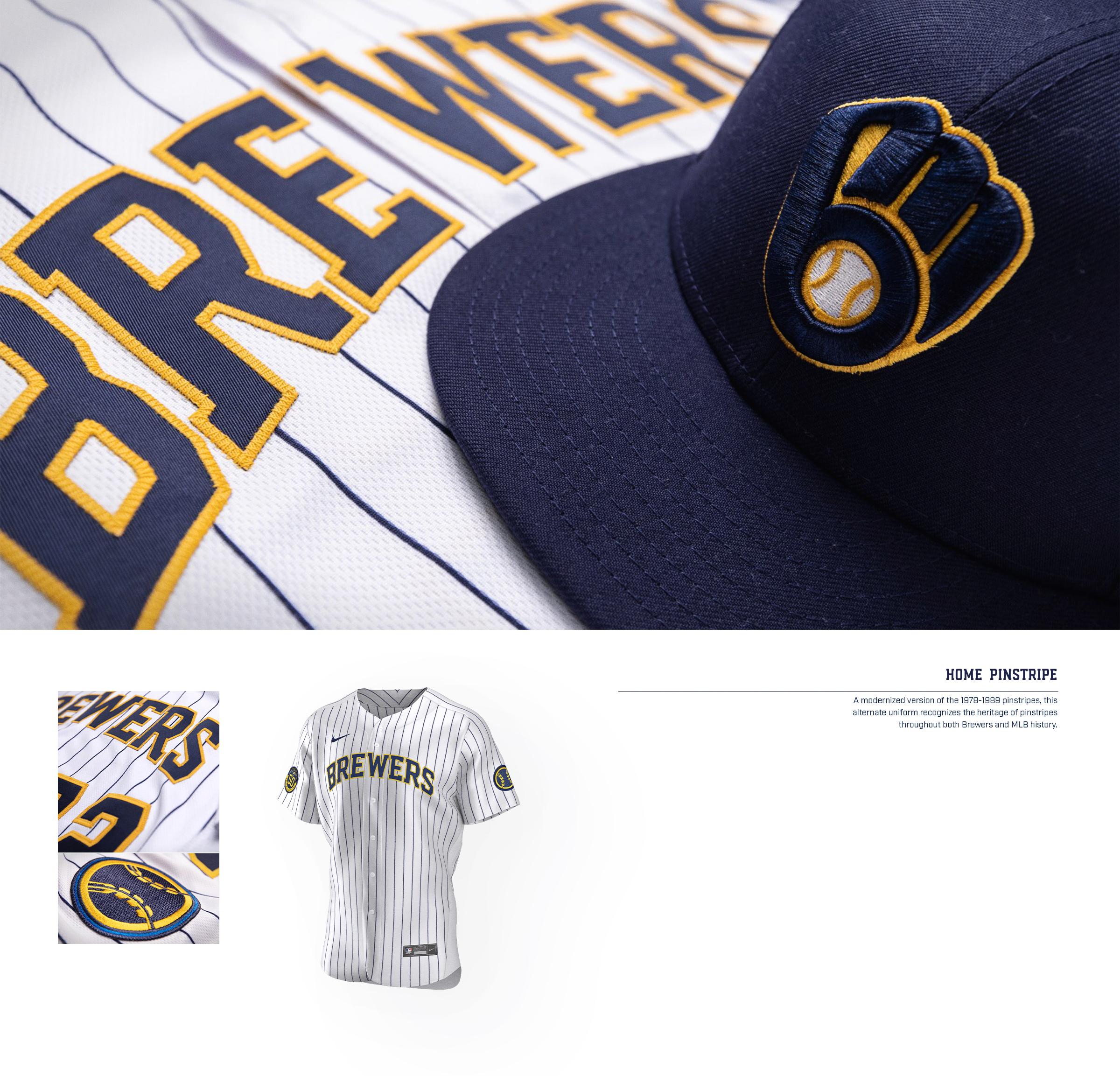 Brewers Uniform Home Pinstripe Jersey