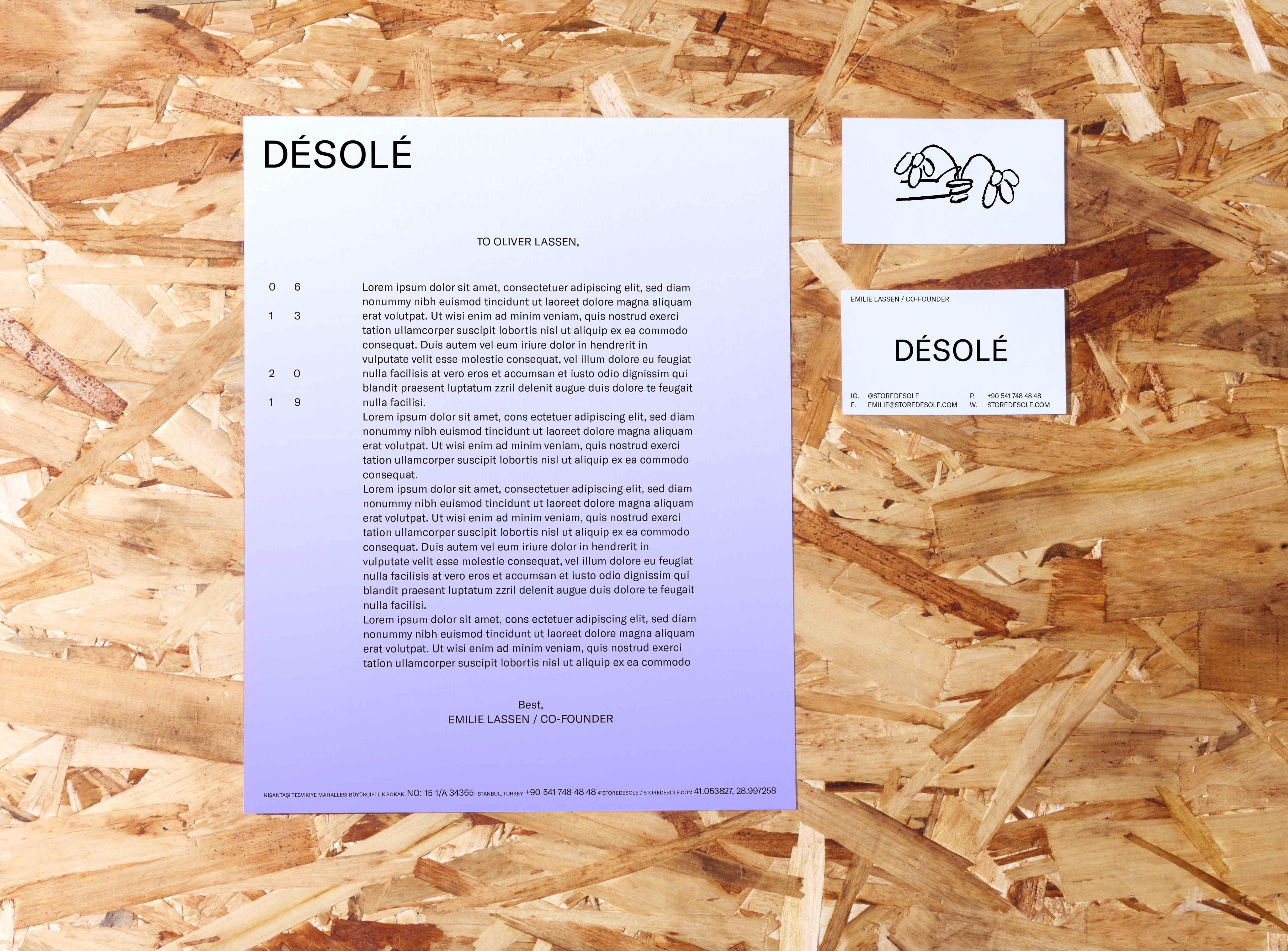 Desole business card and letterhead design
