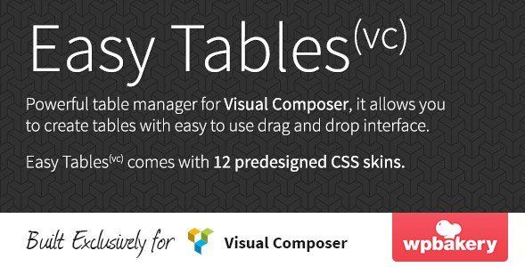Easy Tables – Table Manager for Visual Composer