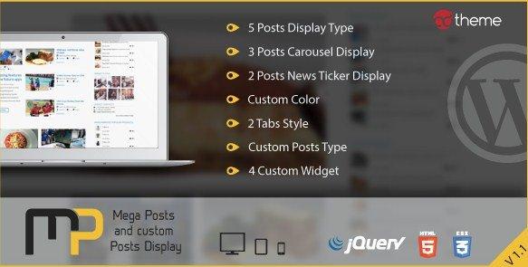 Mega Posts and Custom Posts Display WP Plugin