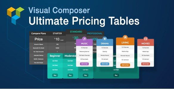 Visual Composer Ultimate Pricing Tables Add-on