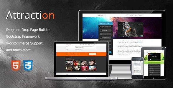 Attraction – Responsive WordPress Landing Page Theme