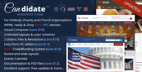 Candidate – Political Nonprofit Church WordPress Theme