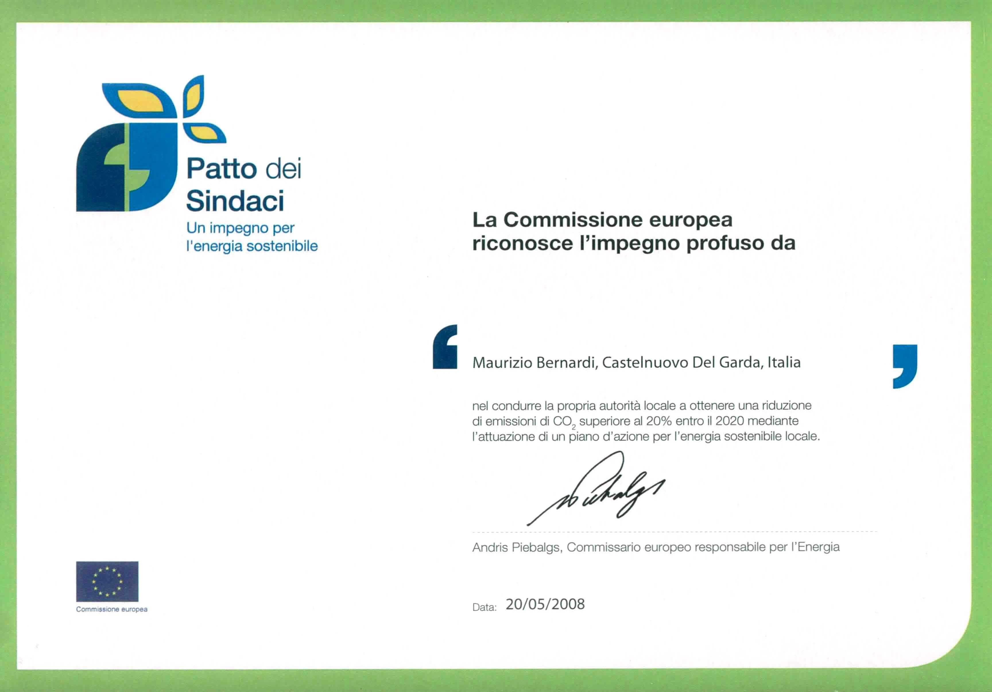 """Foto del riconoscimento Europeo """"Patto dei Sindaci"""""""