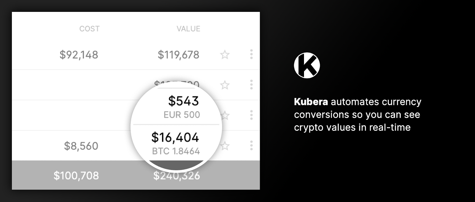 Kubera Natively Supports Major Fiat Currencies and Cryptocurrencies
