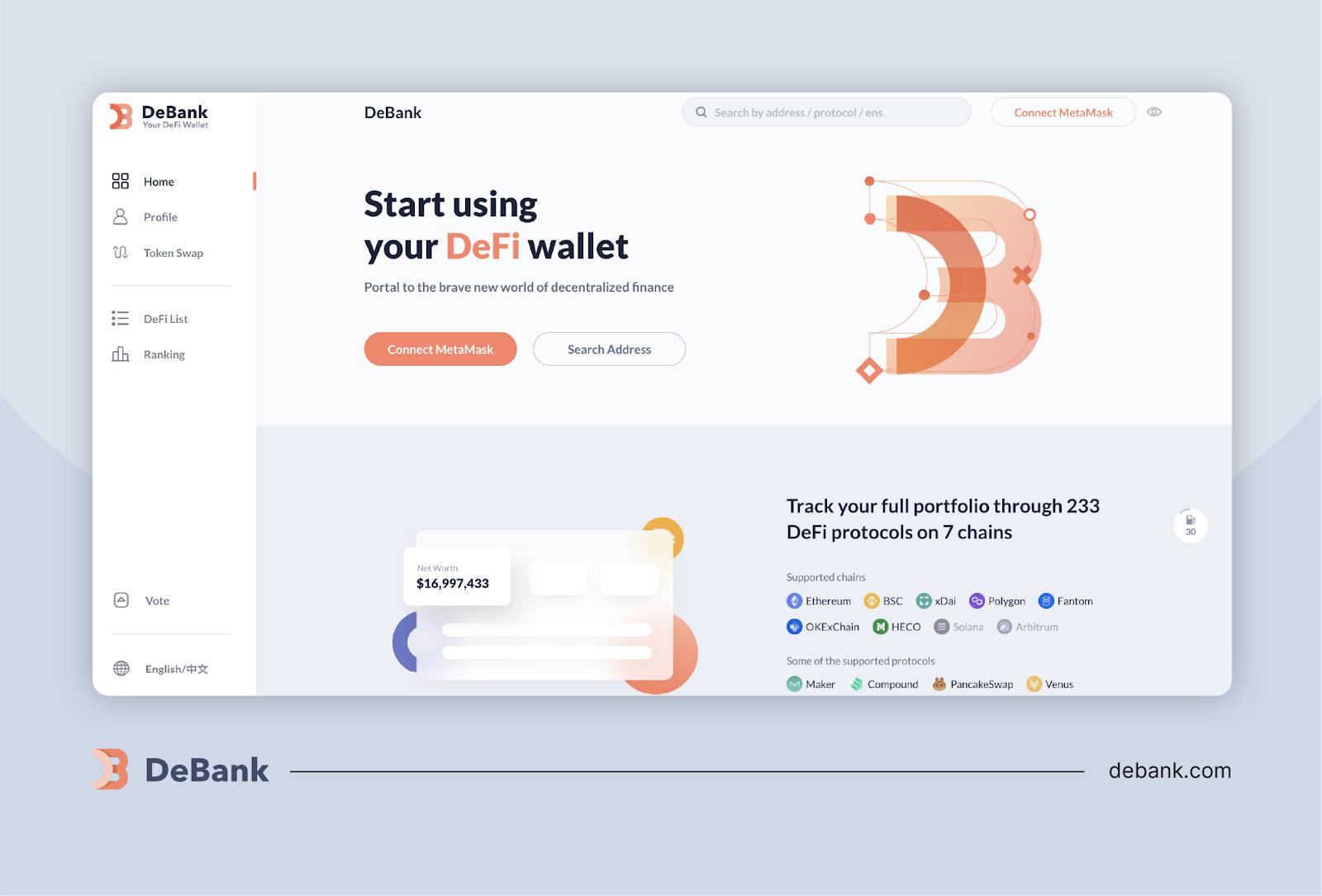 DeBank: Hardcore DeFi Tracking for the Data-Focused