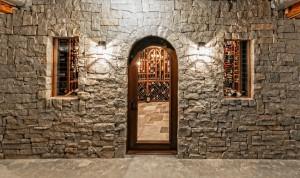 Stone cellar entrace and door