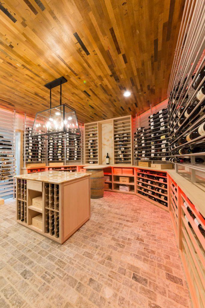 vertical view of wine room